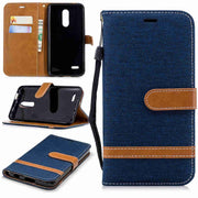 For LG G7 ThinQ K8 K10 2018 Case Denim Jeans Version Coque Etui Cover For LG Q8 6.2 Inch 2018 Wallet PU Leather Case