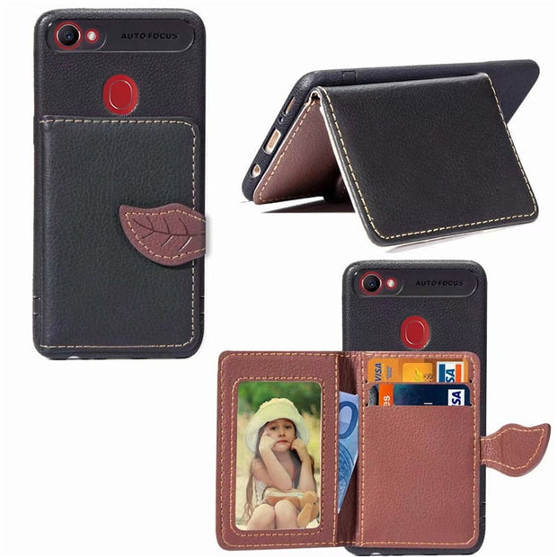 For OPPO F5 F7 Case Luxury PU Leather Wallet Case For OPPO A39 A57 Leaf Style Cards Holder Flip Phone Cover Capa