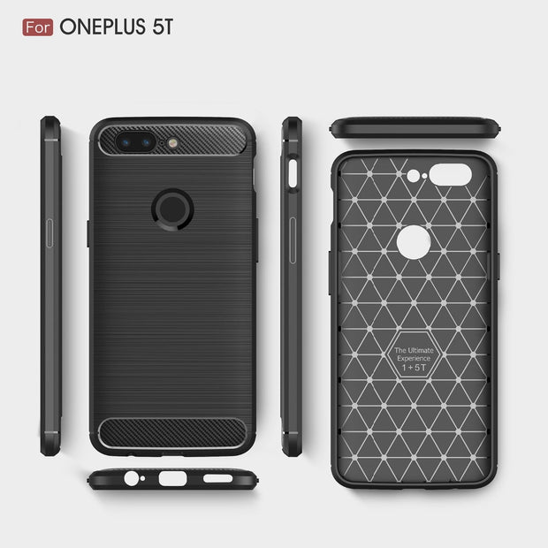 For Oneplus 5T Case Cover Silicone Shockproof Phone Cases For Case Oneplus 5T Back Cover Soft TPU Luxury Carbon Fiber Bags