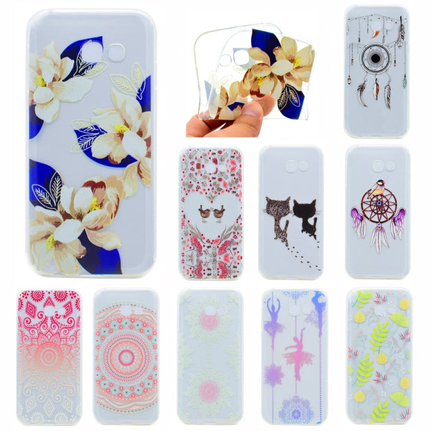 "For Samsung Galaxy A5 2017 A520 A520f 5.2"" Silicone Cover Transparent Animal Flower Soft TPU Back Cover Case For Samsung A5 2017"
