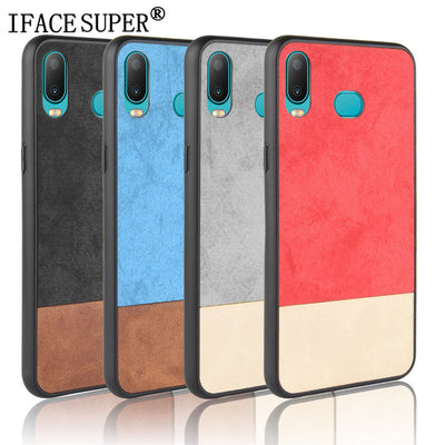 For Samsung Galaxy A6s Case Samsung A6S SPlicing Bi-color Leather PC+TPU Hybrid Back Cover Case For Samsung Galaxy A6s SM-G6200