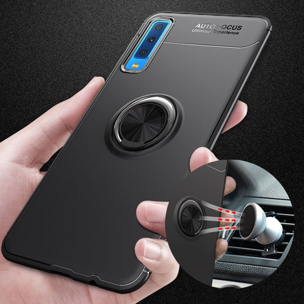 For Samsung Galaxy A7 2018 Case A750 360 Degree Ring Finger Holder Car Magnet Phone Case For Samsung A7 2018 SM-A750 Phone Cases