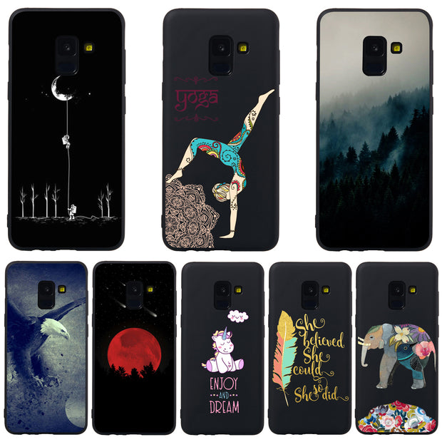 For Samsung Galaxy A8 2018 Phone Case JLNYU Luxury Matte Silicone Soft Shell A8 Plus 2018 Black Fashion Cute Back Cover Cases