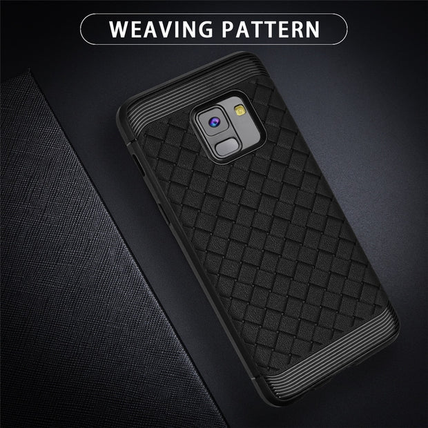 For Samsung Galaxy A8 A8+ A8plus(2018)Case Fashion Weaving Pattern Protective Back Cover For SM-A530 SM-A730 Mobile Phone Case