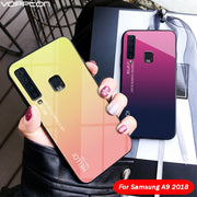 For Samsung Galaxy A9 2018 Case Gradient Tempered Glass Soft Silicone Frame Hard Glass Back Cover For Galaxy A9 2018 A920F Case