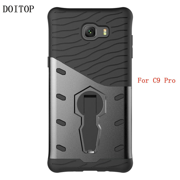 "For Samsung Galaxy C9 Pro Case Cover PC TPU 2 In 1 Armor Back Protective Cover For Samsung Galaxy C9 Pro C9000 6.0"" Kickstand"