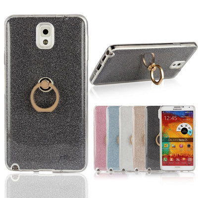 For Samsung Galaxy Note 3 Case Transparent Soft TPU Case Glitter Metal Ring Back Cover For Samsung Galaxy Note 3 N900 N9000 Case