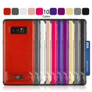 For Samsung Galaxy Note 8 Brushed Texture TPU+PC Protective Back Case With Holder & Card Slot