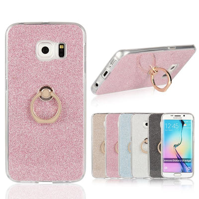 For Samsung Galaxy S6 Edge Plus Case Transparent Soft TPU Case Glitter Metal Ring Back Cover For Galaxy S6 S6 Edge S6 Edge+ Case