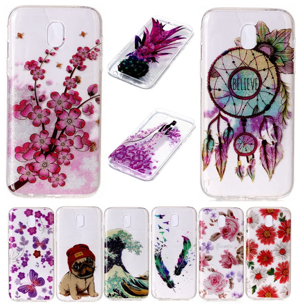 For Samsung J7 2017 J730 J730F Case Transparent Animal Flower Anime  Silicone TPU Soft Back Cover Case For Samsung Galaxy J7 2017