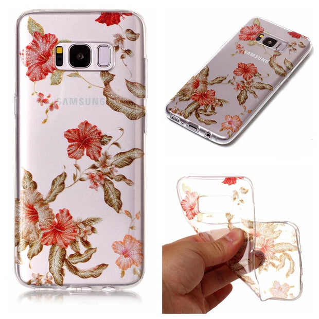 "For Samsung S 8 S8 5.8"" Transparent Case Animal Flower Silicone TPU Skin Soft Back Cover Case For Samsung Galaxy S8 G950 G9500"