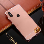For Xiaomi Redmi 6/6Pro Case Fashion Gold Plating Armor Aluminum Frame + Mirror Acrylic Back Cover For Redmi 6A Phone Case Coque