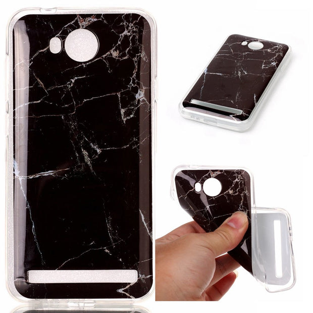 For Funda Huawei Y3 II Case Black Marble Soft Mobile Phone Back Shells For Huawei Y3 2/Y3II-U22/ LUA-U22/Lua-L21 Capinha Etui