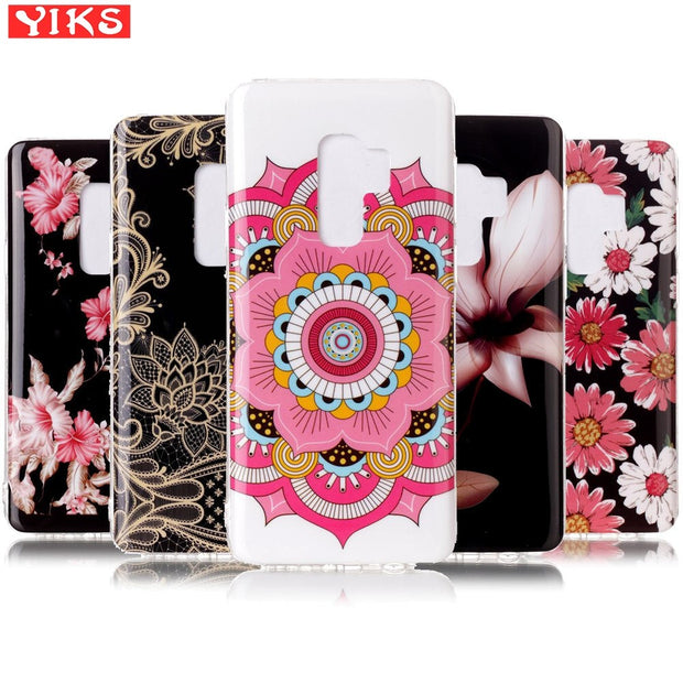 For Fundas Samsung Galaxy S9 Plus Rose Floral Case Silicone Phone Back Cover For Samsung Galaxy S9 Quality TPU Capinha Etui
