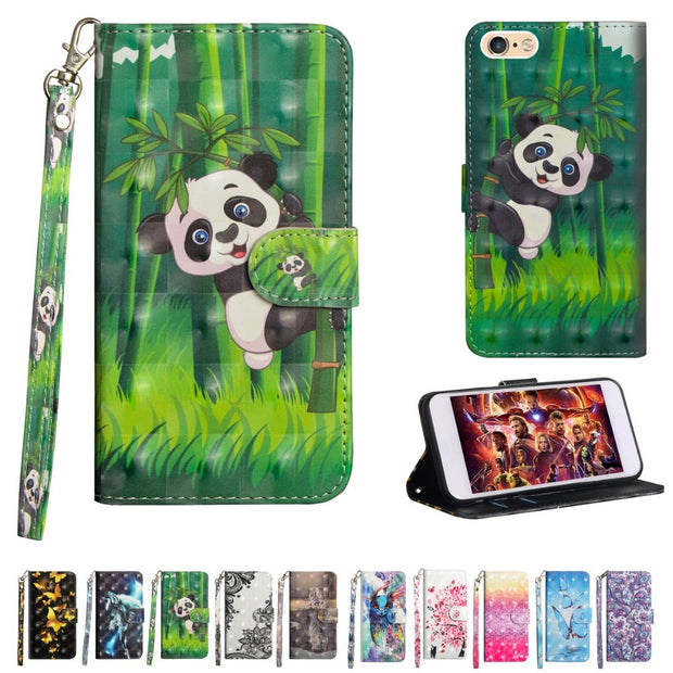 For IPhone 5 5S SE Case 3D Painted Premium PU Leather Wrist Wallet Magnetic Folio Cover For IPhone SE 5S 6 6S 7 8 Cases Funda