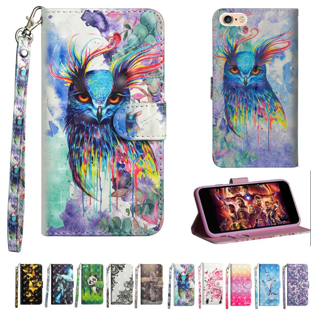 For IPhone 6 6S Case Cover Luxury Pattern Flip Leather Soft TPU Wallet Magnet Stand Shell Cases For IPhone 6 Plus 7 8 X Coque