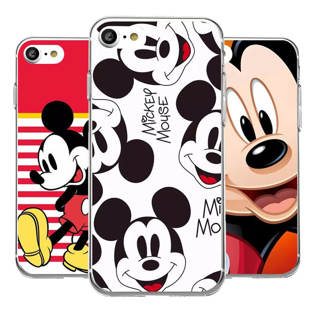 For Iphone 7 Plus Cartoon Funny Cute Mickey Mouse Phone Case Soft Back Charcoal Cases