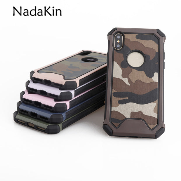 For IPhone 8 Army Camo Camouflage Pattern Case For IPhone X 5 SE 5S 6 6S 7 8 Plus PC Hard+Soft TPU Armor Protective Back Cover