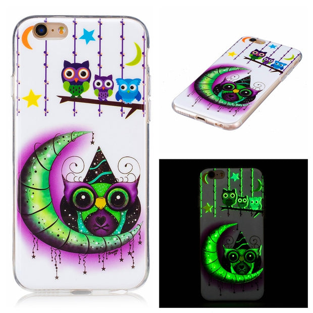 For IPhone5 5S 5SE SE Case Luminous Animal Flower Anime Silicone TPU Skin Soft Back Cover Phone Case For Iphone 5S SE 5G 4.0""
