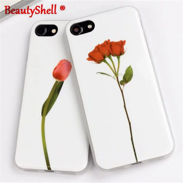 For Iphone 7 7Plus Case For Iphone 6 6S Plus 5S SE Case Plants Cactus Flower Rose Pattern Relief Ultra-Thin Silicone Phone Funda