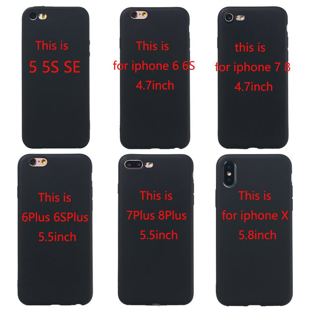 For Iphone X XS Max XR Xr Phone Case 5 5S SE Luxury Matte Silicone Soft Shell For Iphone 6 6S 7 8 Plus Black Fashion Back Cover