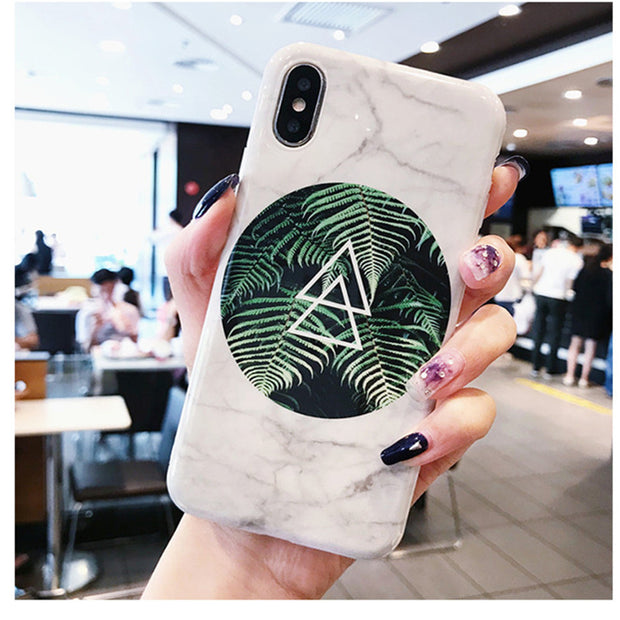Forest Fog Marble Case For Iphone X 7 7Plus 8 8plus Fern Plants Soft TPU Case For Iphone 6 6s 6Plus Back Cover