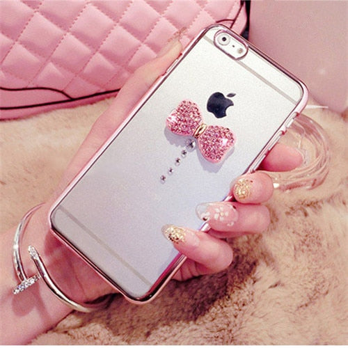 Fundas Luxury Handmade Bling Diamond Rhinestone Bow-knot Plating PTU Cover Case For SamsungA3 A5 A7 J3 J5 J7 2016/2017 PrimeCase