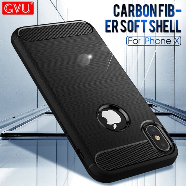 GVU Carbon Fiber TPU Phone Cases For IPhone 8 7 6 Plus 5 Soft Anti-Knock Cover Cases For IPhone 6S 7 8 Plus 5S SE Capa Coque