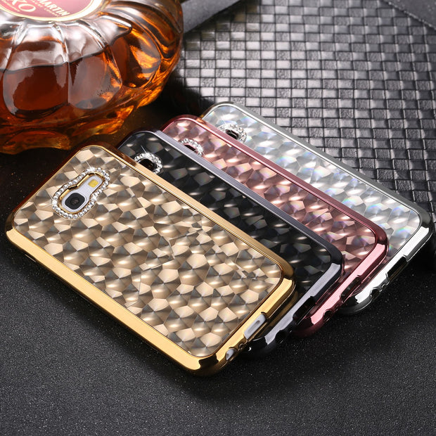 GerTong Luxury Glitter Diamond Soft Case For Samsung Galaxy S7 Edge S8 S9 Plus J3 J5 J7 A3 A5 A7 2017 Plating TPU Phone Cover