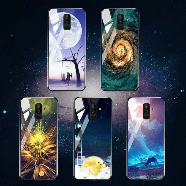 Glass Case For Samsung Galaxy J8 2018 Case Coque For Samsung J8 J6 J4 J2 Pro 2018 Cases Covers J7 2017 J730 Painted Back Fundas