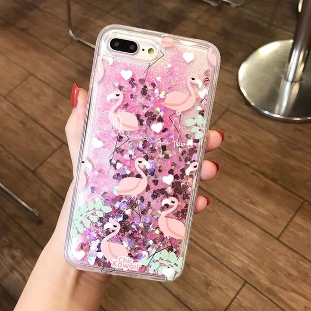 Glitter Love Heart Dynamic Liquid Quicksand Phone Case For IPhone X 8 7 6 6S Plus Flower Flamingo Cartoon Soft TPU Back Covers