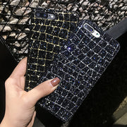Glitter Powder Grid Case For Iphone X 8 7 6 6S Plus Cover Fashion Sparkle Bling Sequins Colorful Lines Soft TPU Phone Cases Capa