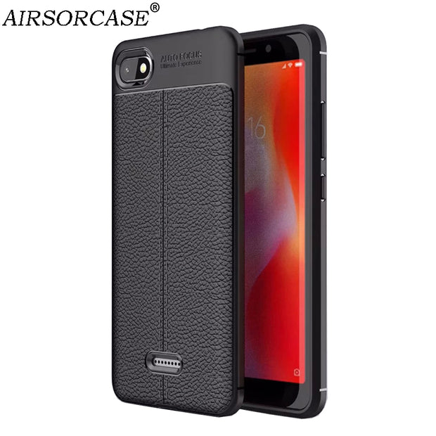 Global Version Redmi 6A Mobile Phone Cases For Xiaomi Redmi 6A Case Cover Coque Soft Silicone TPU Back Cover Litchi Skin Texture