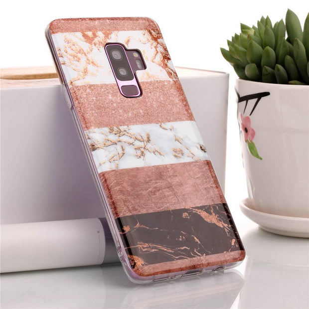 Gold Plating Marble Case For Samsung Galaxy S9 Plus Case Stone Splice Silicone Soft TPU Cover Phone Cases For Samsung S9 Coque