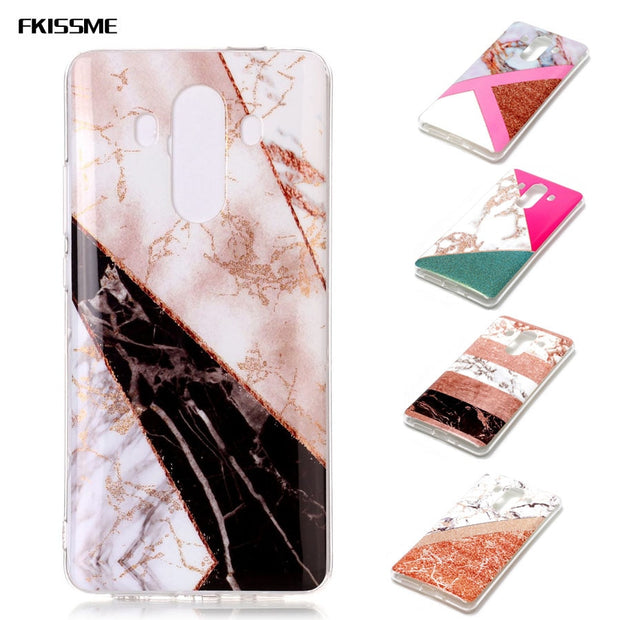 Gold Plating Marble Stone Case For Huawei Mate 10 Pro Splice Silicone Soft TPU Cover Bag Phone Cases For Huawei Mate 10 Pro Case