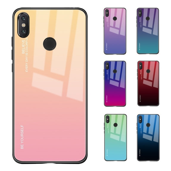 10326e2a1 Gradient Color Tempered Glass Case For Xiaomi Redmi Note 5 6 Pro 5 Plu