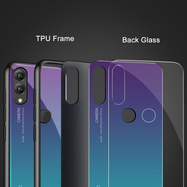 Gradient Tempered Glass Covers Coque Honor 8X Back Case For