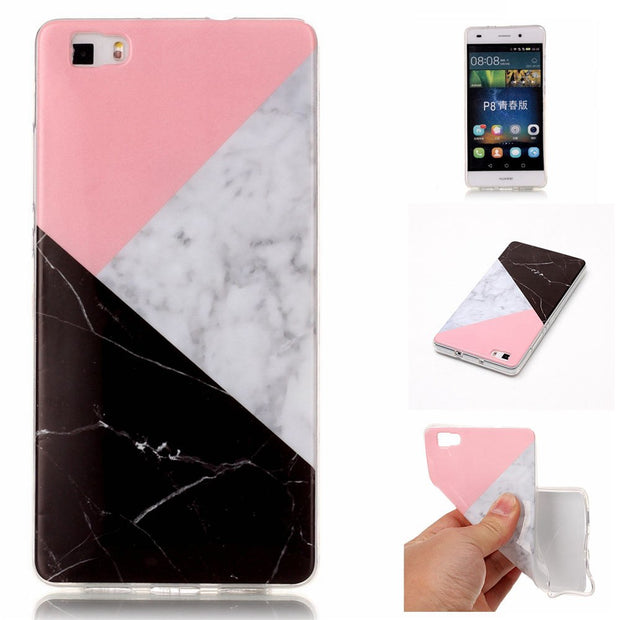 Green Marble Soft Case For Huawei P8 Lite Quality Silicone Mobile Phone Shell For Funda Huawei P8 Lite Cover Floral Capinha Etui