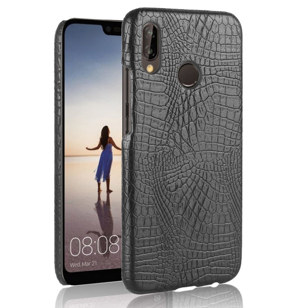 HUDOSSEN For Huawei P20 Lite ANE-AL00 ANE-TL00 Case Luxury Crocodile Pattern PU Leather Hard Back Cover For Huawei P20 Lite Capa