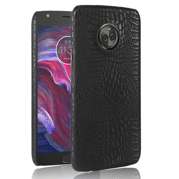 HUDOSSEN For Motorola Moto X4 XT1900-7 XT1900-2 Case Luxury Crocodile Pattern PU Leather Hard Back Cover For Moto X (4th Gen.)