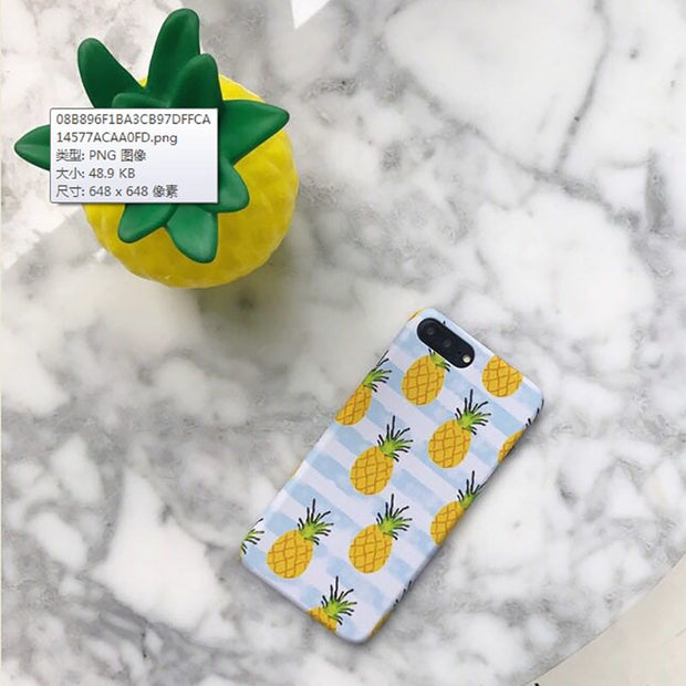 Haissky Cute Phone Case For Iphone X 8 7 Plus 6 6S Plus Case Newspaper Distorted Line Pineapple Hard Fitted Cover Fashion Coque