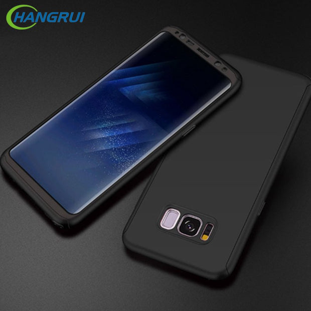 Hangrui For Samsung Galaxy S8 Case Matte Pc 2 In 1 Full Cover With Tempered Glass For Samsung S7 S8 Plus For Samsung Note 8 Case