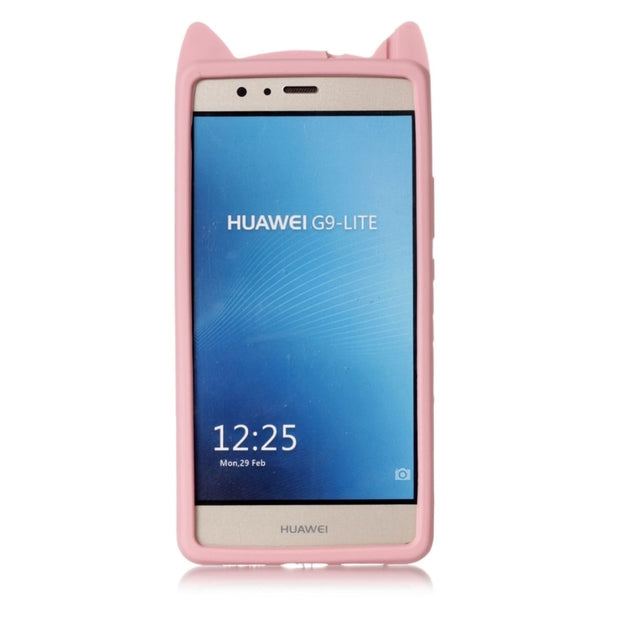 Haweel For Huawei P9 Lite Funda Silicona Soft Cartoon Cute Cat Whiskers Protective Back Cover Case For Huawei P9 Lite Phone Case