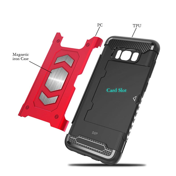 Heavy Duty Magnet Armor Case Cover For Samsung Galaxy S8 S9 A6 A8 Plus 2018 J7 Prime A5 A7 J3 J7 2017 S7 Note 8 9 5 Card Slot