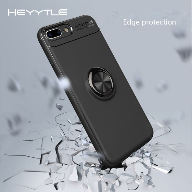 Heyytle Car Stealth Bracket Phone Case For IPhone X 8 7 6 6s Plus Cases Ring Holder Stand Magnetic Back Cover Luxury Soft Shell
