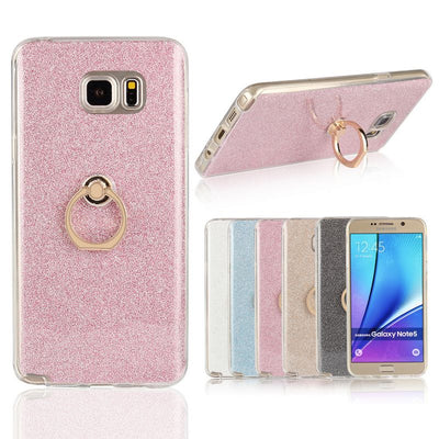 High Quality Transparent Soft TPU Case Glitter Metal Ring Back Cover For Samsung Galaxy Note 5 N920 N920T N920A N920I N920G Case
