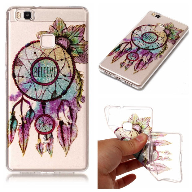 Huawei P9 Lite G9 VNS-L21 Case Transparent Animal Flower Anime Silicone TPU Soft Back Cover Case For Huawei P9 Lite VNS-L23 5.2""