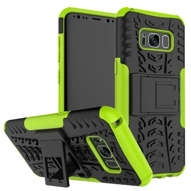 Hybrid Stand Case For Samsung S8 S8 Plus Rugged Tire Shockproof Impact Armor PC Cover For Galaxy S8/S8Plus Soft Silicone Cases