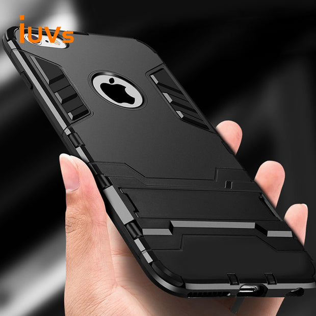 IUVS Anti-fall Bracket Shockproof Armor Phone Case For Iphone7 8 X Plus Luxury TPU Protective Hard Cases For Iphone 6 6s Plus