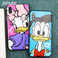 JAMULAR Donald Duck Daisy Phone Case For IPhone 7 X 8 6 6s Plus Cute Mickey Acrylic Back Cover For IPhone XS MAX XR Metal Button